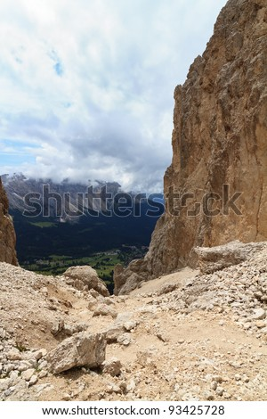 Vaiolon pass in Catinaccio group, on background Carezza Valley, sudtirol, Italy - stock photo