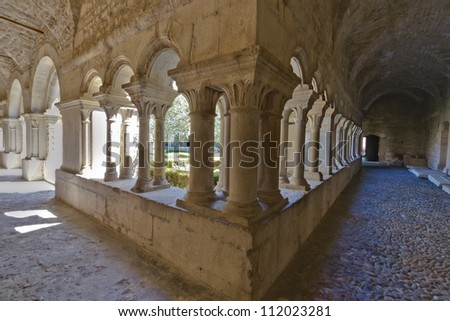 Vaison-la-Romaine - The cloister of the cathedral - stock photo
