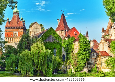 Vajdahunyad Castle (Hungarian-Vajdahunyad vara) is a castle in the City Park of Budapest. - stock photo