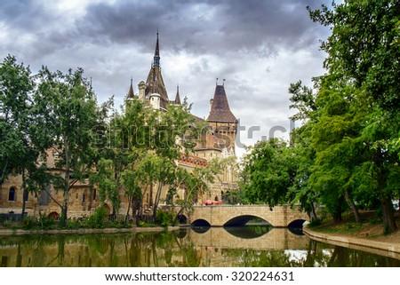 Vajdahunyad castle in Varosliget park. Budapest. Hungary - stock photo