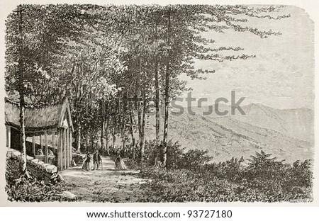 Val d'Ajol old view, France. Created by Clerget, published on Le Tour du Monde, Paris, 1867 - stock photo