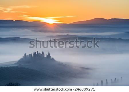 val d'orcia, Tuscany Field, Tuscany, Italy - stock photo