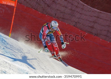 Val Gardena, Italy 19 December 2015.  MAPLE Wiley (Usa) competing in the Audi Fis Alpine Skiing World Cup Men's Downhill Race on the Saslong Course in the dolomite mountain rang