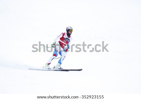 Val Gardena, Italy 18 December 2015. WEBER Ralph (Sui) competing in the Audi FIS Alpine Skiing World Cup Super-G race on the Saslong course in the Dolomite mountain range.