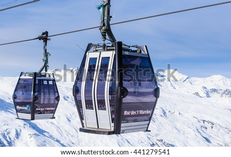 VAL THORENS, FRANCE - JANUARY 27, 2016: Cabins cableway ski resort of Val Thorens.  France