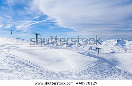 VAL THORENS, FRANCE - JANUARY 27, 2016: Valley view of Val Thorens.  France