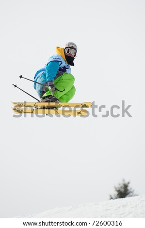 VALCA, SLOVAKIA - FEBRUARY 13: jump of Patrik Vozar at Nokia Freestyle Tour 2011 February 13, 2011 in Valca, Slovakia - stock photo