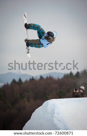 VALCA, SLOVAKIA - FEBRUARY 13: jump of  Radovan Dubovy in final round of Nokia Freestyle Tour 2011 on February 13, 2011 in Valca, Slovakia - stock photo