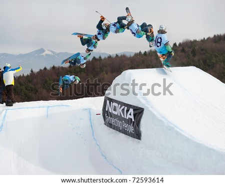 VALCA, SLOVAKIA - FEBRUARY 13: jump sequence of Matej Dolnik (SVK) at Nokia Freestyle Tour 2011 February 13, 2011 in Valca, Slovakia - stock photo