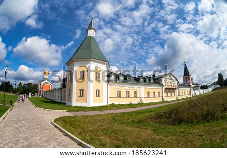 VALDAY, RUSSIA - AUGUST 19, 2012: Iversky Monastery in the Novgorod region. Monastery was founded by Patriarch Nikon in 1653 - stock photo