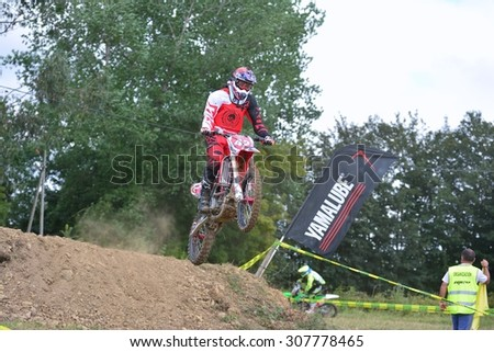 VALDESOTO, SPAIN - AUGUST 8: Asturias Motocross Championship in August 8, 2015 in Valdesoto, Spain. Claudio Hidalgo rider with the number 42