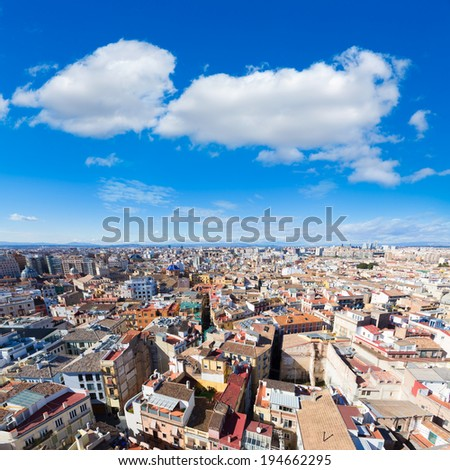 Valencia aerial skyline from el Miguelete tower of Spain