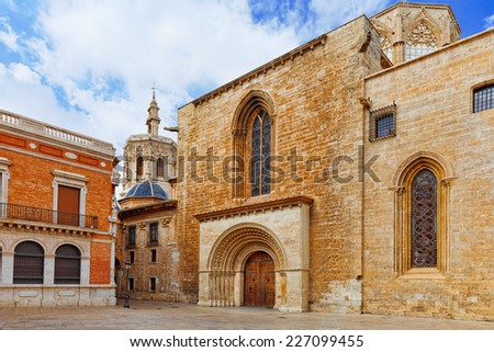 Valencia  cathedral temple in old town.Spain . - stock photo