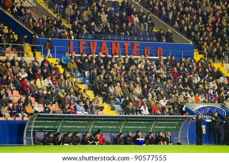 VALENCIA - DECEMBER 10: view of supportes of Levante FC during the spanish league match between Levante FC and Sevilla, final score 1 - 0, on December 10, 2011, in Valencia, Spain.