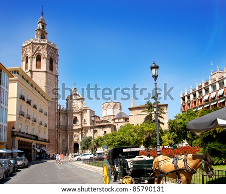 Valencia El Miguelete Micalet cathedral in Reina Square - stock photo