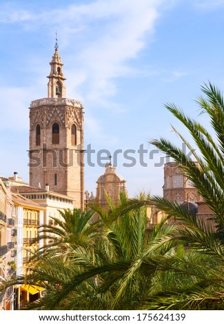 Valencia historic downtown El Miguelete and Cathedral  Micalet de la Seu in spain - stock photo