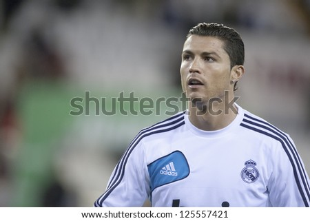 VALENCIA - JANUARY 20: Cristiano Ronaldo during Spanish Soccer League match between Valencia CF and Real Madrid, on January 20, 2013, in Mestalla Stadium, Valencia, Spain - stock photo