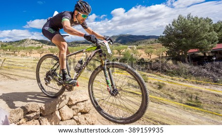 VALENCIA - MARCH 6: Alvaro Martin rider participates in international Chelva MTB-XCO competition in Chelva on march 6, 2016 in Valencia, Spain - stock photo