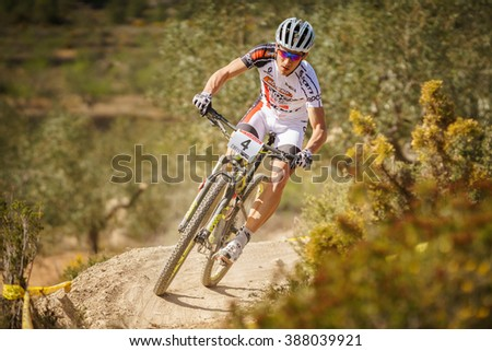 VALENCIA - MARCH 6: Hugo Drechou rider participates in international Chelva MTB-XCO competition in Chelva on march 6, 2016 in Valencia, Spain