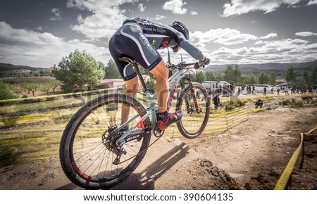 VALENCIA - MARCH 6: Salvador Moll rider participates in international Chelva MTB-XCO competition in Chelva on march 6, 2016 in Valencia, Spain - stock photo
