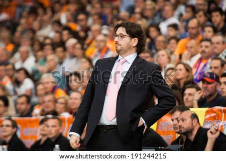VALENCIA - MAY, 1: Coach of Unics trinchieri during a Eurocup Finals match between Valencia Basket Club and Unics Kazan at the Fonteta Stadium on May 1, 2014 in Valencia, Spain