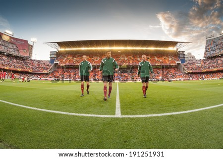 VALENCIA - MAY, 1: Team of Referees during UEFA Europe League semifinals match between Valencia CF and Sevilla FC at the Mestalla Stadium on May 1, 2014 in Valencia, Spain - stock photo