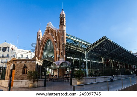 Valencia old town market hall - stock photo