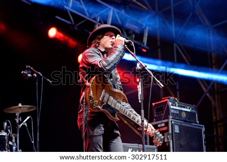 VALENCIA, SPAIN - APR 4: Carl Barat and the Jackals (band) in concert at MBC Fest on April 4, 2015 in Valencia, Spain.