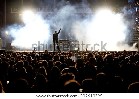 VALENCIA, SPAIN - APR 5: Crowd watch a concert at MBC Fest on April 5, 2015 in Valencia, Spain. - stock photo