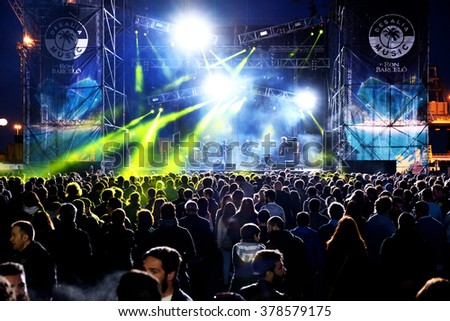 VALENCIA, SPAIN - APR 4: Crowd watch a concert at MBC Fest on April 4, 2015 in Valencia, Spain.