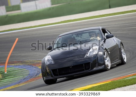VALENCIA, SPAIN - APRIL 25: A black Nissan GTR take part in American Fest weekend organized in circuit Ricardo Tormo, on April 25, 2015, in Cheste, Valencia, Spain.