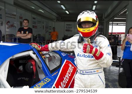 VALENCIA, SPAIN - APRIL 25: Borja Garcia compete at Race 1 Elite 1 of Nascar Whelen Euro Series in Ricardo Tormo circuit, on April 25, 2015, in Cheste, Valencia, Spain. The winner was Eddie Cheever. - stock photo