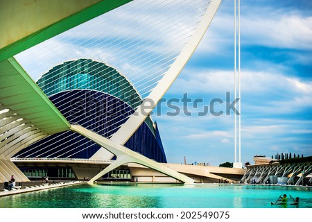 "VALENCIA, SPAIN - APRIL 24, 2014: Designed by Santiago Calatrava and Felix Candela, the project underwent the first stages of construction in July 1996 and the finished ""city"" was inaugurated April 16, 1998 - stock photo"