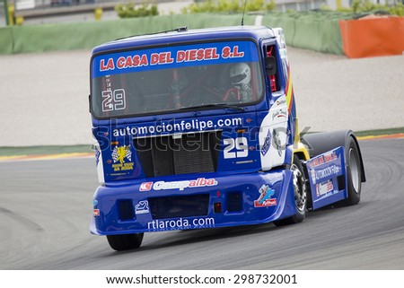 VALENCIA, SPAIN - APRIL 25: European Truck Racing Championship. David Felipe of MAN team compete at Ricardo Tormo circuit, on April 25, 2015, in Cheste, Valencia, Spain. Jochen Hahn wins the race.