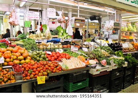 Valencia, Spain - April 13, 2013: Rich choice of fresh vegetables at the Central Market (Mercado Central) in Valencia.