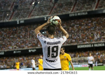 VALENCIA, SPAIN - AUGUST 29: A. Barragan in action at the Spanish League game between Valencia CF and Malaga CF at Estadi de Mestalla (Mestalla Stadium) on August 29, 2014 in Valencia, Spain - stock photo