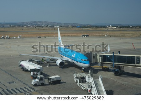 VALENCIA, SPAIN - AUGUST 27, 2016: KLM aircraft at the Valencia Airport. KLM is the flag carrier airline of the Netherlands headquartered in Amstelveen with its hub at Amsterdam Airport Schiphol.
