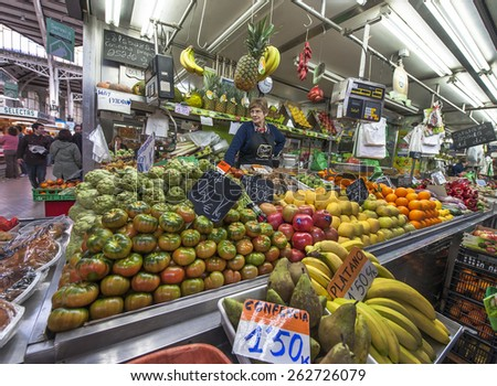 VALENCIA,SPAIN-CIRCA FEBRUARY 2015: At the fruit-vegetable store at the market