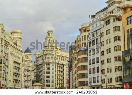 VALENCIA, SPAIN - DECEMBER 14: A view of the Ajuntament neighborhood. Valencia is the third largest city in Spain with 800,000 inhabitants. December 14, 2014 in Valencia, Spain  - stock photo