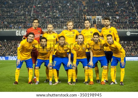 VALENCIA, SPAIN - DECEMBER 5: Barcelona team during BBVA LEAGUE match between Valencia C.F. and FC Barcelona at Mestalla Stadium on December 5, 2015 in Valencia, Spain - stock photo