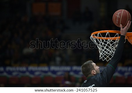 VALENCIA, SPAIN - DECEMBER 30: Juventut player during Spanish League match between Valencia Basket Club and Juventut at Fonteta Stadium on December 30, 2014 in Valencia, Spain - stock photo