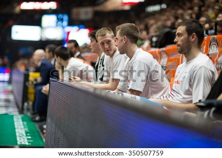 VALENCIA, SPAIN - DECEMBER 12th: Fuenlabrada players during Spanish League between Valencia Basket Club and Montakit Fuenlabrada at Fonteta Stadium on December 12, 2015 in Valencia, Spain - stock photo