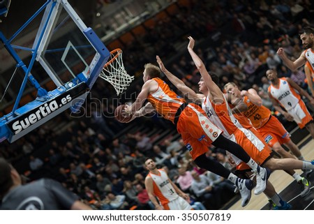 VALENCIA, SPAIN - DECEMBER 12th: Hamilton with ball during Spanish League between Valencia Basket Club and Montakit Fuenlabrada at Fonteta Stadium on December 12, 2015 in Valencia, Spain - stock photo