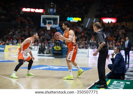 VALENCIA, SPAIN - DECEMBER 12th: Martinez with ball during Spanish League between Valencia Basket Club and Montakit Fuenlabrada at Fonteta Stadium on December 12, 2015 in Valencia, Spain - stock photo