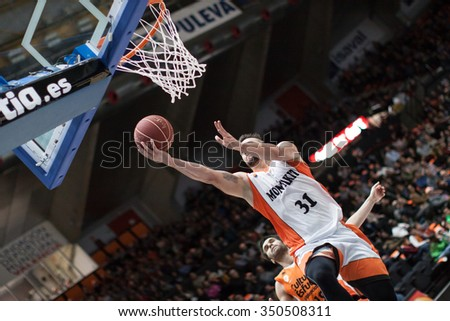 VALENCIA, SPAIN - DECEMBER 12th: Paunic during Spanish League between Valencia Basket Club and Montakit Fuenlabrada at Fonteta Stadium on December 12, 2015 in Valencia, Spain - stock photo