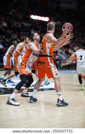 VALENCIA, SPAIN - DECEMBER 12th: Sikma with ball during Spanish League between Valencia Basket Club and Montakit Fuenlabrada at Fonteta Stadium on December 12, 2015 in Valencia, Spain - stock photo