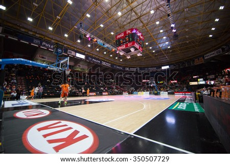 VALENCIA, SPAIN - DECEMBER 12th: Stadium during Spanish League between Valencia Basket Club and Montakit Fuenlabrada at Fonteta Stadium on December 12, 2015 in Valencia, Spain - stock photo