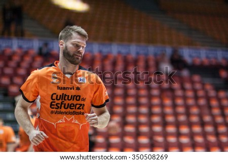 VALENCIA, SPAIN - DECEMBER 12th: Stefansson during Spanish League between Valencia Basket Club and Montakit Fuenlabrada at Fonteta Stadium on December 12, 2015 in Valencia, Spain - stock photo