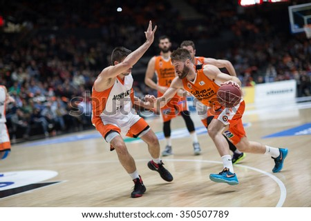 VALENCIA, SPAIN - DECEMBER 12th: Stefansson with ball during Spanish League between Valencia Basket Club and Montakit Fuenlabrada at Fonteta Stadium on December 12, 2015 in Valencia, Spain