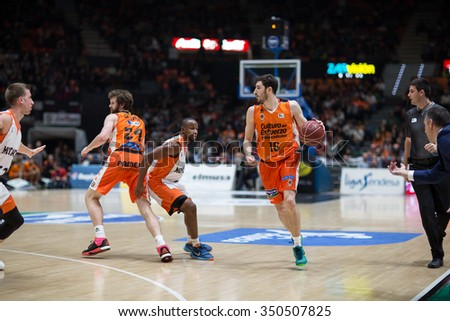VALENCIA, SPAIN - DECEMBER 12th: Vives with ball during Spanish League between Valencia Basket Club and Montakit Fuenlabrada at Fonteta Stadium on December 12, 2015 in Valencia, Spain - stock photo